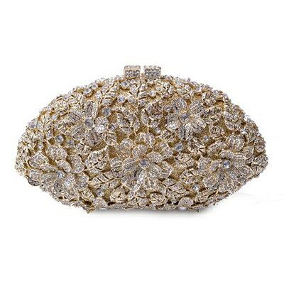 晚宴包水鑽手拿包-歐美時尚閃耀花朵女包包8色73su8【獨家進口】【米蘭精品】