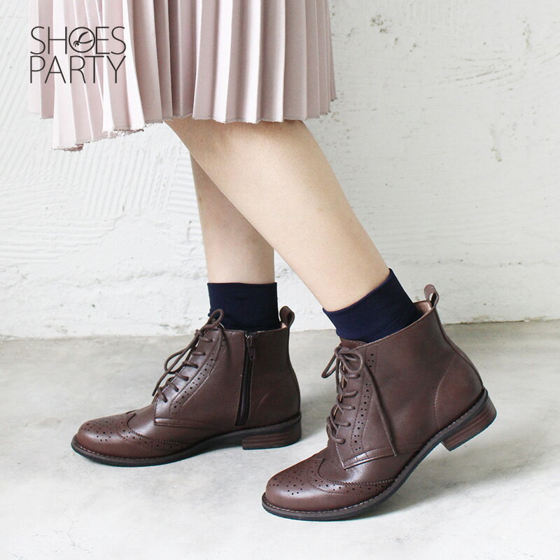 【B2-18817L】真皮牛津綁帶短靴_Shoes Party 4