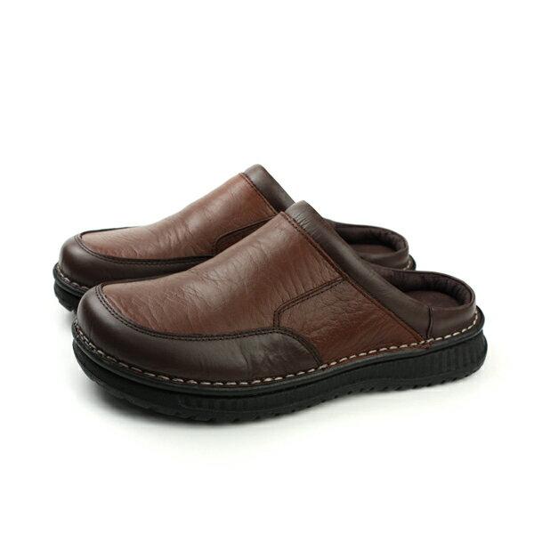 HUMAN PEACE:HUMANPEACE涼鞋拖鞋皮質舒適咖啡色男鞋H055no004