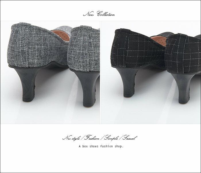【AW706】MIT台灣製 OL上班族必備 時尚經典格紋布面 5CM細中跟鞋 圓頭包鞋 2色 2