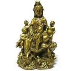 開光銅觀音擺件 五子觀音菩薩佛像 銅送子觀音擺件