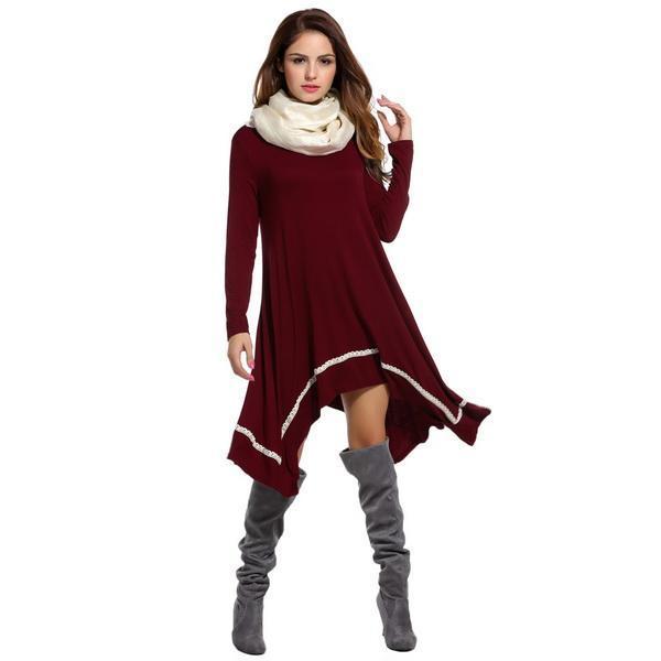 Women Casual Long Sleeve Loose Irregular Lace Hem Tunic Dress 2
