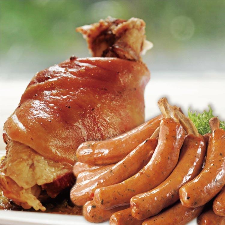 【築地藏鮮】《TVBS上班這黨事》強力推薦脆皮德國豬腳Party組 ~德國煙燻豬腳(600g)+德國帶骨煙燻香腸10隻(750g) 根本就是海賊王裡面的帶骨漫畫肉