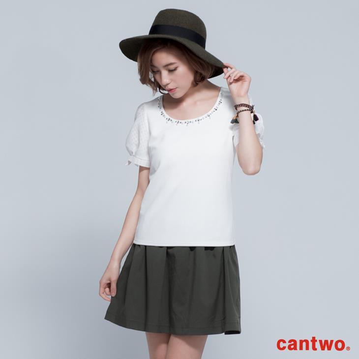 cantwo名媛風珠飾公主袖上衣(共三色) 0