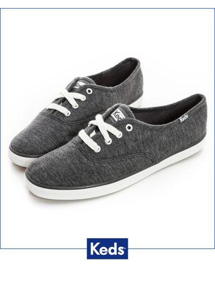Keds 復古運動綁帶休閒鞋-深灰(限量) 套入式│懶人鞋│平底鞋│綁帶 1