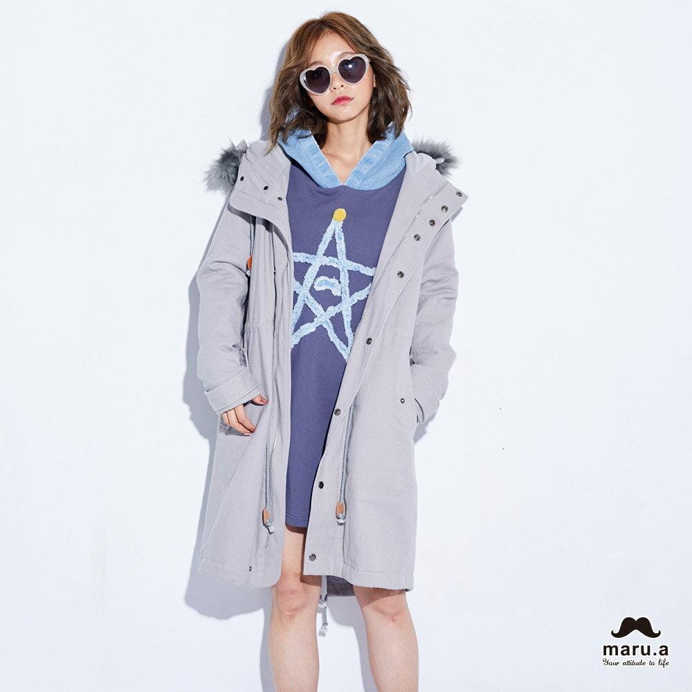【maru.a】特色貼布防風長版外套(2色)7912214 0