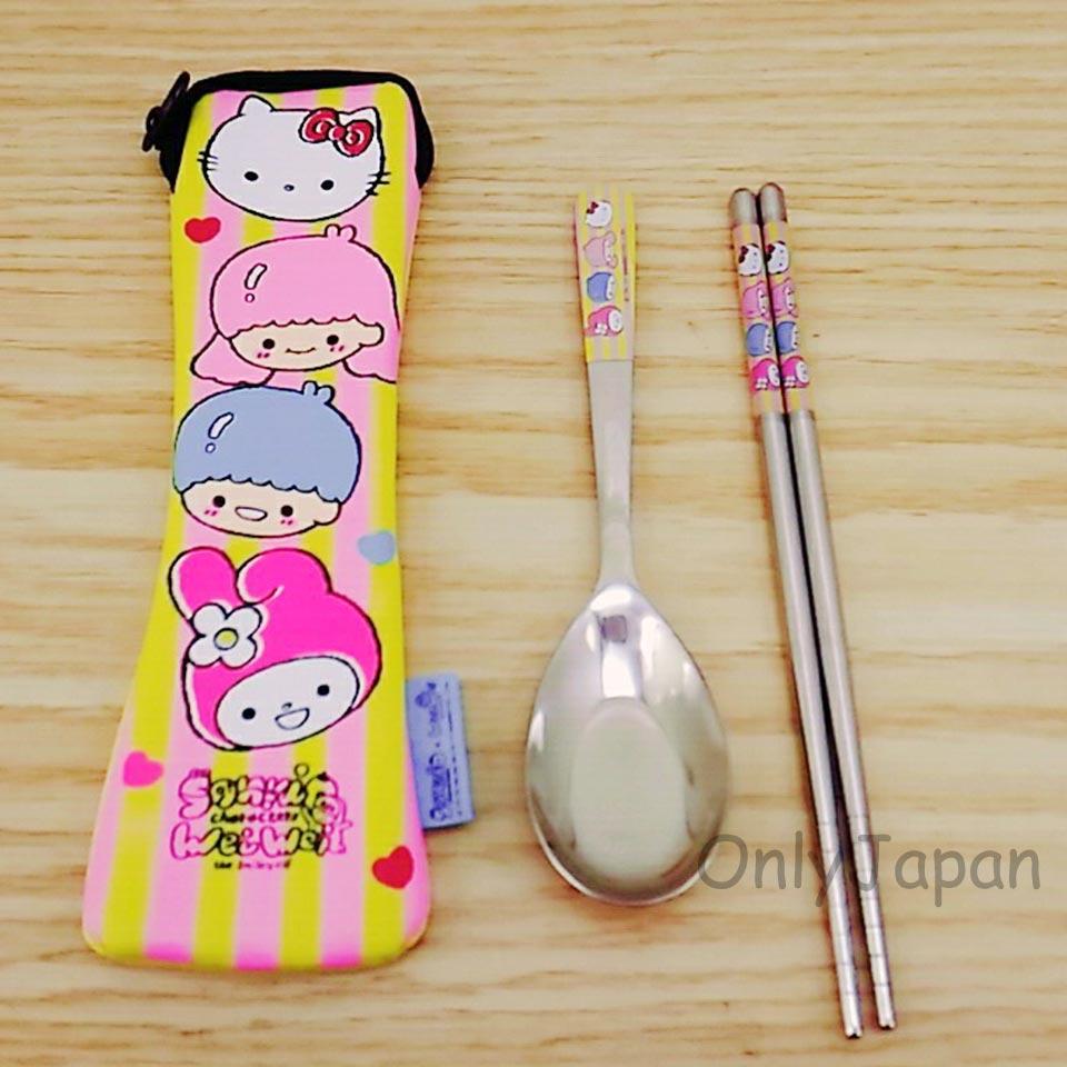 【真愛日本】18010300005 潛水布不鏽鋼餐具組-KTWEIWEI 雙子星 kitty 美樂蒂 304不鏽鋼