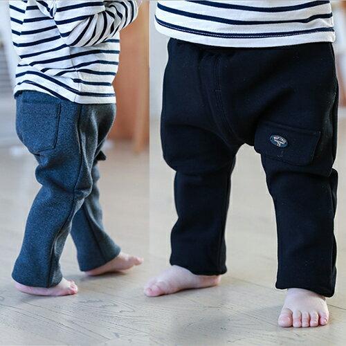 WallFree窩自在★秋冬時尚簡約口袋設計內毛絨舒適保暖兒童哈倫褲休閒褲