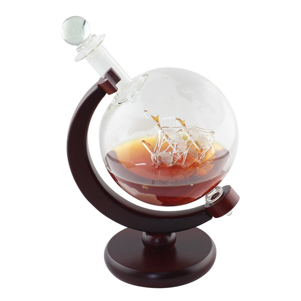 Whiskey 1000 ml Decanter For Spirits Or Wine Decorative Etched World Globe Glass Fiberboard Stand With Crafted Glass -Sailing Ship 1
