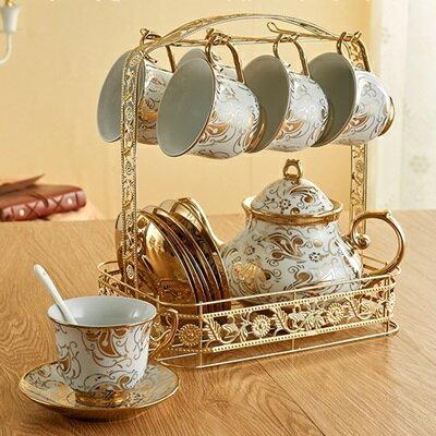 ★下午茶茶具含茶壺咖啡杯組合-6人燙金花紋歐式陶瓷茶具69g81【獨家進口】【米蘭精品】 0