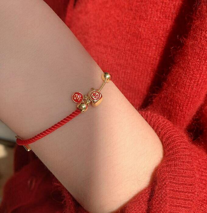 手鏈 牛年紅繩手鏈女抽拉簡約設計感可愛吉福字幾何開口手鐲本命年韓版