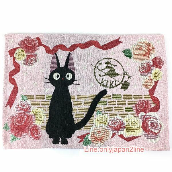 【真愛日本】17030300069戈布蘭織餐墊-jiji磚牆玫瑰  魔女宅急便 黑貓 奇奇貓 地墊 墊子 正品 限量