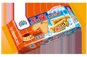 ●孔雀捲心餅63g-雞蛋布丁口味-6包/組【合迷雅好物超級商城】