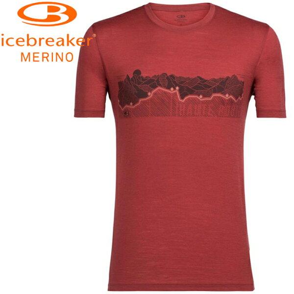 Icebreaker排汗衣短袖T恤美麗諾羊毛TechLite男圓領短袖上衣JN150IB104128601奧特山徑鋼鐵紅