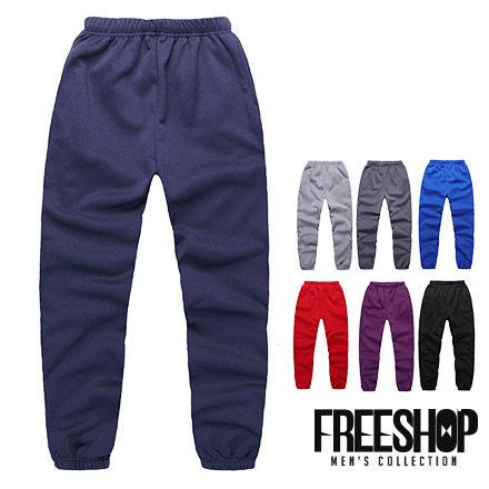 Free Shop【QR95135】美式休閒潮流高磅厚棉刷毛質感素面素色保暖束口褲彈性長棉褲‧七色