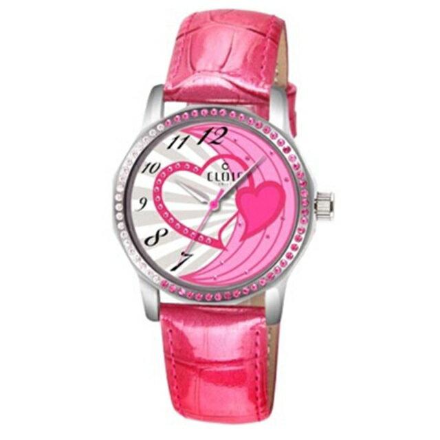 CLOIE 圓形晶鑽女腕錶 紅色/34mm CL10175-VX05