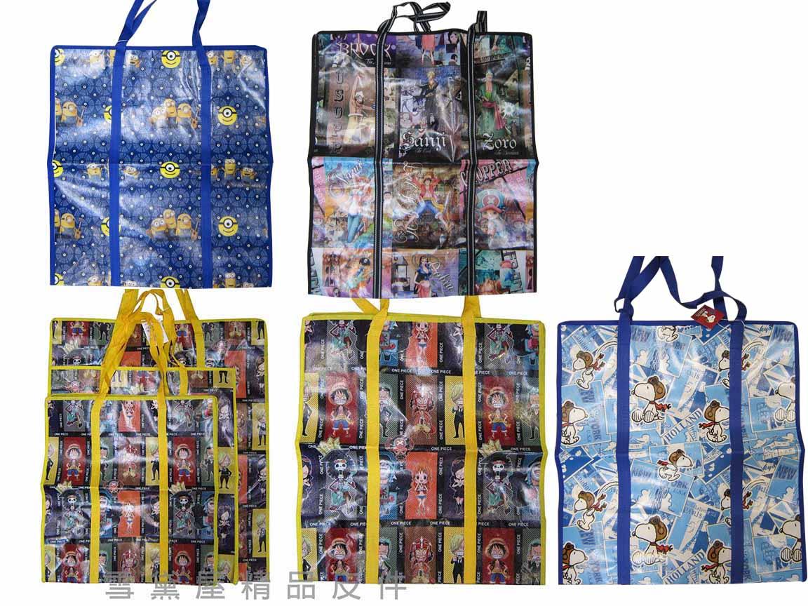 ~雪黛屋~旅行袋批發袋購物袋簡易型防水由底部加強耐重車縫PVC尼龍布摺疊壓扁收納不占空間正版授權提背JJ752-3(大)