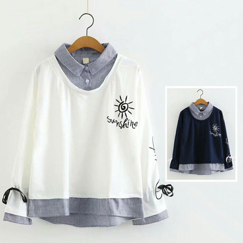 翻領太陽花刺繡寬鬆假兩件長袖衛衣(2色M~L)【OREAD】 1