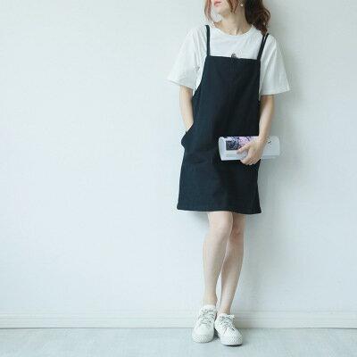 韓系女裝大口袋純色氣質短裙吊帶裙連身裙洋裝樂天時尚館。預購。[全店免運]
