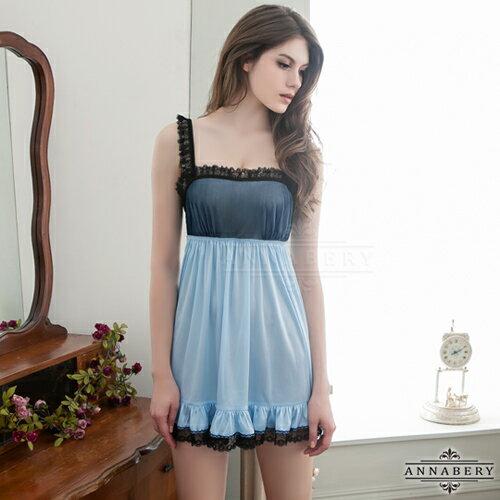 星光密碼:星光密碼【B090】大尺碼天空藍綴黑蕾絲魅惑柔緞情趣性感睡衣