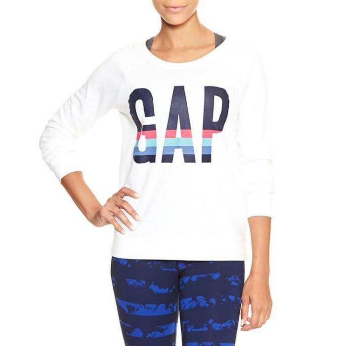 美國百分百【全新真品】GAP T恤 長T 長袖 T-shirt 大學T logo 女 XS S號 白色 H936