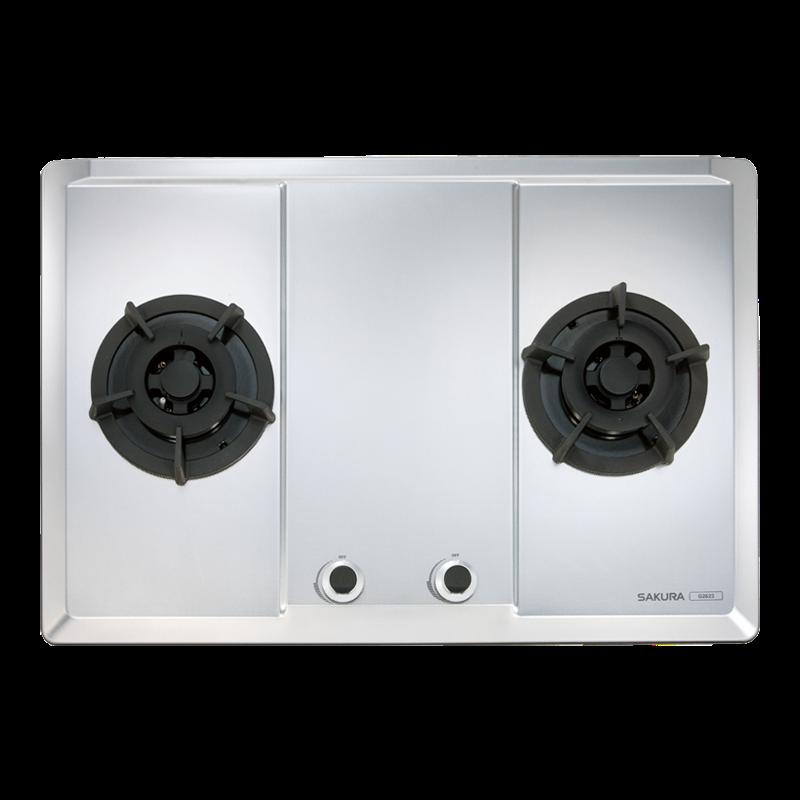 櫻花牌G2623S二口大面板易清檯面爐-珍珠壓紋不鏽鋼面板平整式
