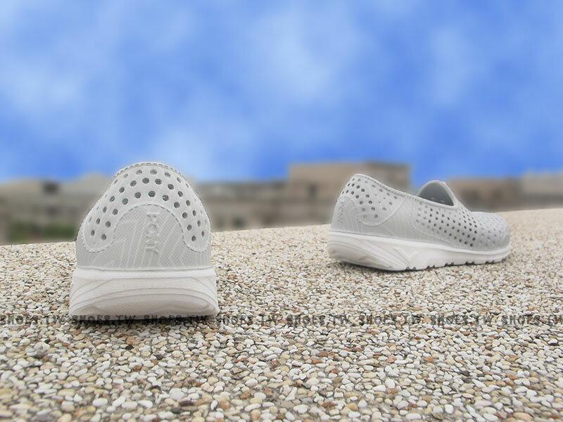 《下殺5折》Shoestw【62K1SA61SY】PONY TROPIC 水鞋 童鞋 軟Q 防水 洞洞鞋 灰線條 親子鞋 2