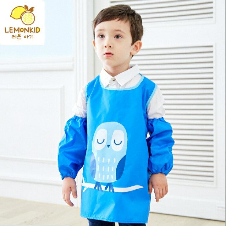 Lemonkid◆糖果色晚安貓頭鷹卡通造型純色防水防髒環保罩衣畫畫衣圍裙式-藍色