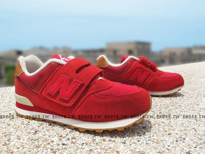 《下殺7折》Shoestw【KV574NJI】NEW BALANCE 574 膠底 防滑 小童鞋 運動鞋 紅咖啡