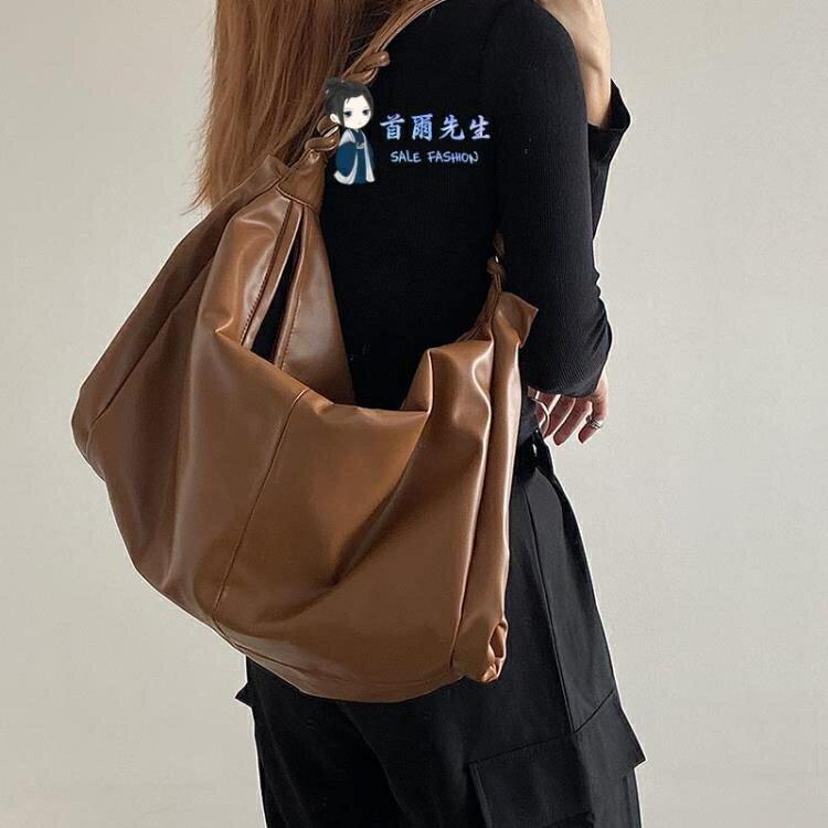 單肩包 斜背包 2021韓版新款肩帶編織百搭大容量女包簡約復古休閒單肩大包