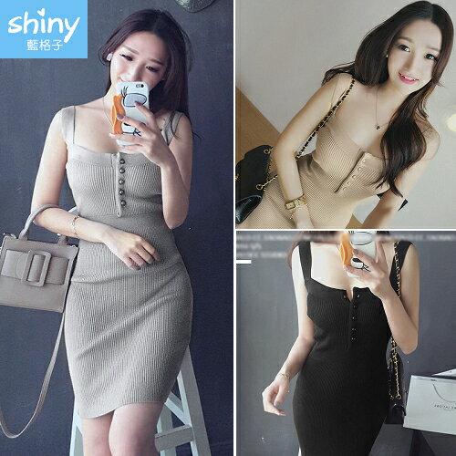 【V2290】shiny藍格子-韓系恬靜.修身性感無袖吊帶連身裙