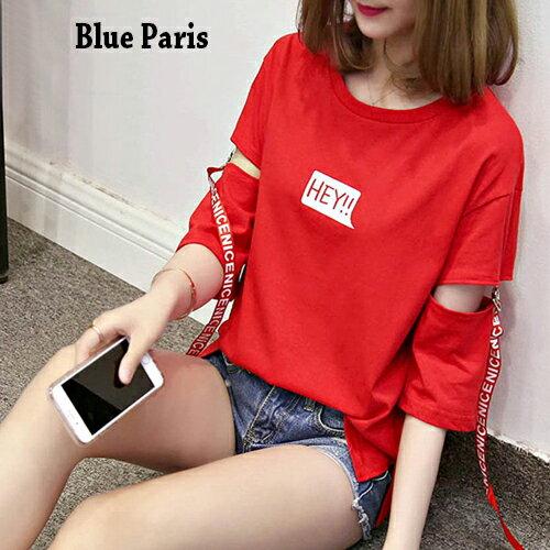 上衣 原宿風金屬環拼接英文織帶簍空短袖上衣 T恤~28198~~3色~Blue Paris