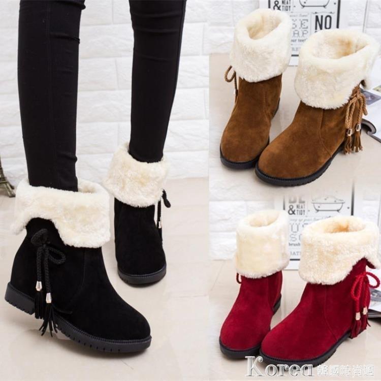 雪靴 春秋冬雪地靴女短靴女鞋防滑平底加絨加厚短筒靴保暖兩穿棉鞋女靴子