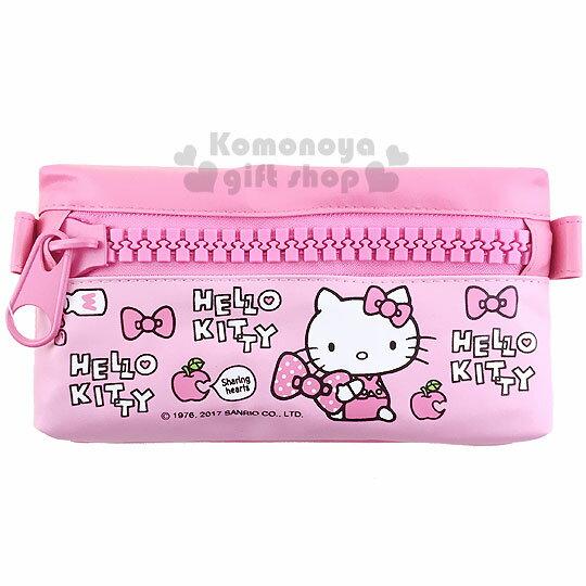 〔小禮堂〕Hello Kitty 皮質扁平拉鍊筆袋《粉.坐姿.蘋果.蝴蝶結.大拉鍊》