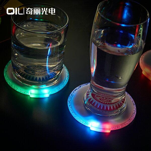 美琪(絢麗杯墊)圓形超薄led發光杯墊重力感應鍵led紅藍雙燈色閃光杯墊