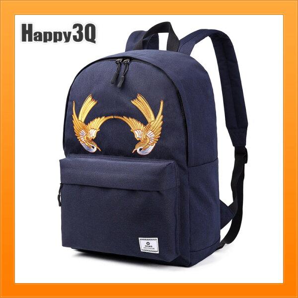 刺繡雙肩包男時尚飛鳥包休閒學生書包韓版刺繡雙肩背包-黑灰藍【AAA5156】