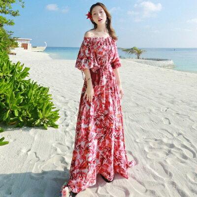 波希米亞長裙-夏季渡假優雅一字領連衣裙73sg43【獨家進口】【米蘭精品】