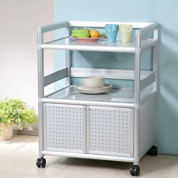 碗盤櫃 電器櫃 電器架 鋁架 收納架 櫥櫃 碗盤收納 廚房收納櫃 置物櫃 《Yostyle》鋁合金2尺二門收納櫃-黑花格