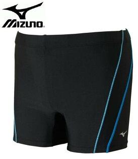 MIZUNO美津濃男泳褲FITNESS短版休閒泳褲-N2JB661192(黑X藍)[陽光樂活]