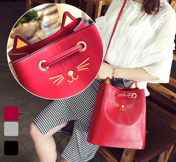 最後出清↘$399 大容量韓國3背式貓咪水桶包 肩背包 斜側包 手提包 時尚甜美女生包包《波卡小姐 貓咪小物》 BT0126