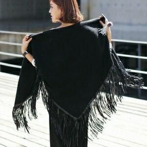 美麗大街~IR1568~秋裝 甜美大三角形羊毛絨流蘇圍巾多用披肩小外套 ~  好康折扣