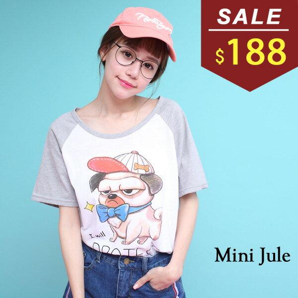 ★現貨★上衣 帽子狗狗配色棒球T 小豬兒 MiNi Jule 【SKF71004687】