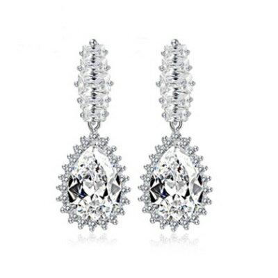 純銀耳環鍍白金鑲鑽耳飾~ 高檔 情人節生日 女飾品73cr77~ ~~米蘭 ~