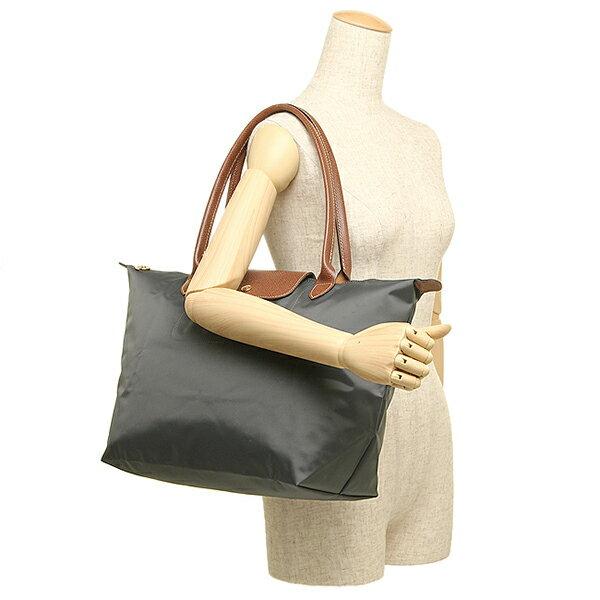 [長柄M號]國外Outlet代購正品 法國巴黎 Longchamp [1899-M號] 長柄 購物袋防水尼龍手提肩背水餃包 槍灰色 3
