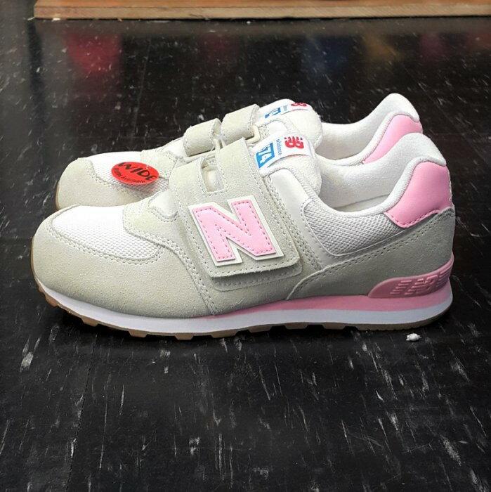 new balance nb 574 KV574RYY 童鞋 魔鬼氈 白色 米白色 粉紅色 麂皮 網布 女鞋最大23