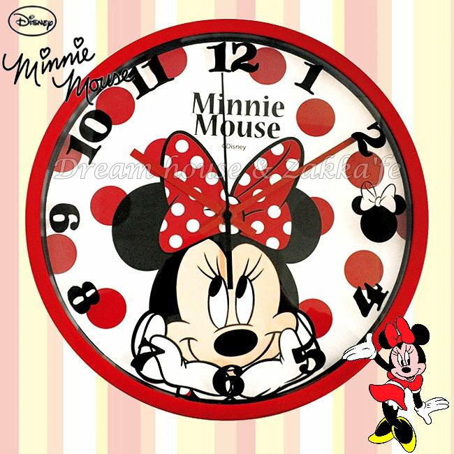 日本正版 Disney 迪士尼 米妮 Minnie 紅色大臉 掛鐘/時鐘《 靜音無聲連續機芯 》★ 簡單時尚可愛 ★ 夢想家精品家飾