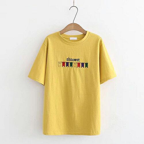 *ORead*刺繡小狗圖案休閒圓領棉質短袖T恤(3色F碼) 1