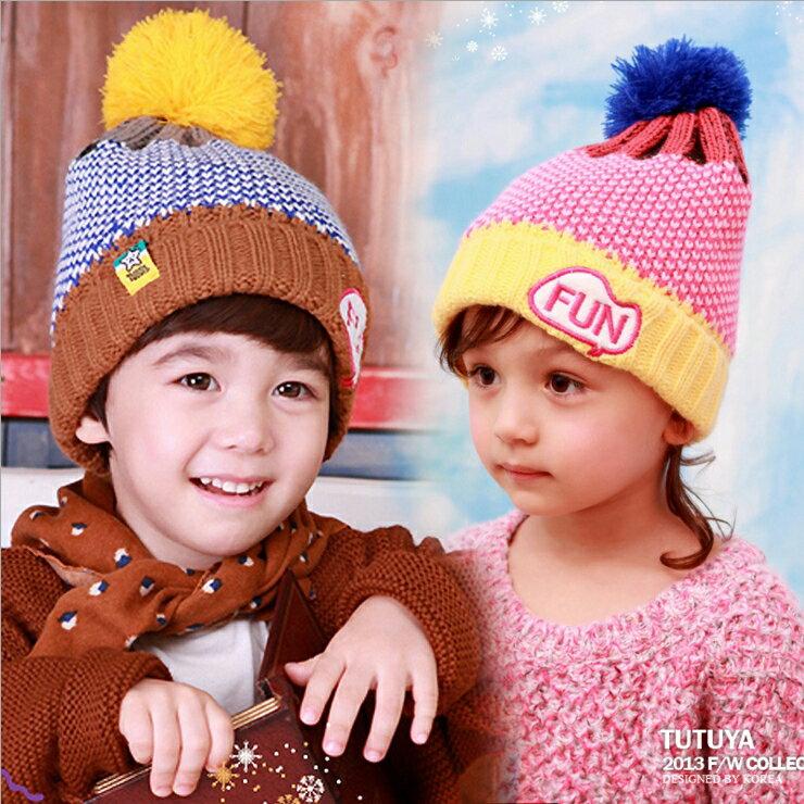 Tutuya◆ 可愛FUN字母刺繡保暖拚色兒童針織毛線帽