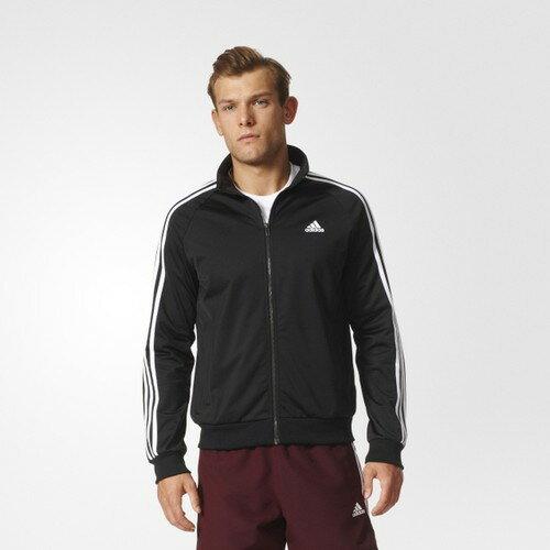 [尋寶趣] ADIDAS 黑白 基本款 立領 運動外套 長袖 三條線 男款外套 BR1024