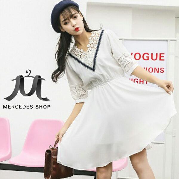 梅西蒂絲Mercedes Shop:《現貨出清5折》學院風V領蕾絲收腰七分袖洋裝(S-XL)-梅西蒂絲(現貨+預購)